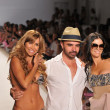 MIAMI BEACH, FL - JULY 18: (L-R) Aylin Mujica, Designer A.Z. Araujo and Adriana de Moura walk the runway at the A.Z Araujo show during Mercedes-Benz Fashion Week Swim on July 18, 2011 in Miami, FL — Stock Photo