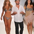 MIAMI BEACH, FL - JULY 18: (L-R) Aylin Mujica, Designer A.Z. Araujo and Adriana de Moura walk the runway at the A.Z Araujo show during Mercedes-Benz Fashion Week Swim on July 18, 2011 in Miami, FL — Stock Photo #22724145