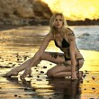 Sexy model posing at golden sunset at passific coast of California — Stock Photo