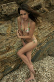 Attractive brunette girl posing sexy in brazilian bikini in front of rocks at Palos Verdes secret cove beach, CA — Stok fotoğraf