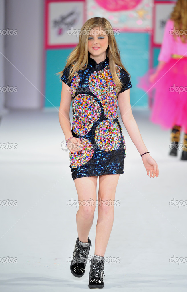 Los Angeles March 13 A Child Model Walks The Runway At