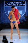 Los Angeles - March 12: A male model walks the runway at the Andrew Christian Fall Winter 2013 fashion show during Project Ethos Fashion event at club Avalon on March 12, 2013 in Los Angeles, CA — Stock Photo