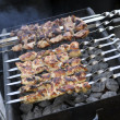 Meat on skewers being flame grilled on a bbq - Stock Photo