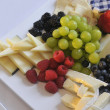 Different tasty snacks and cheese for wine  — Stock Photo