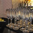 Champaign glasses on the bar - Stock Photo