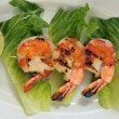 Jumbo shrimps on skewer with sweet garlic chili sauce - Stock Photo