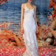 NEW YORK- OCTOBER 14: Model poses on runway for Claire Pettibone bridal show for Fall 2013 during NY Bridal Fashion Week on October 14, 2012 in New York City, NY - Stock Photo