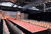 NEW YORK- OCTOBER 14: Empty runway for Claire Pettibone bridal show for Fall 2013 during NY Bridal Fashion Week on October 14, 2012 in New York City, NY — Stock Photo