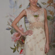 NEW YORK - APRIL 22: A Model poses for Claire Pettibone bridal presentation at Pier 92 during International Bridal Fashion Week on April 22, 2013 in New York City - Stock Photo
