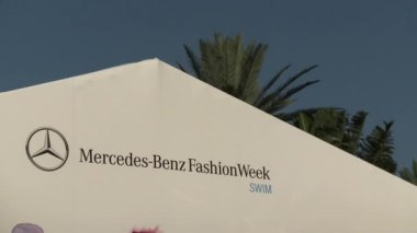 MIAMI - JULY 19: General view of Fashion tent and main entrance to Mercedes-Benz Swim Fashion Week at Railegh hotel on July 19, 2012 in South Beach Miami, FL — Stock Video