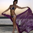 Beautiful fashion model in design bikini holding floating bright fabric standing on the beach during  sunset time with effective background of sky — Stock Photo