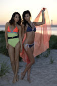 Two fashion models posing on the beach dunes wearing sexy swimsuits on sunset time with effective background of sky and Verrazano Bridge — Stock Photo