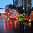 Cars moving on flooded streets and roads of Miami South Beach — Stock Photo #28510201