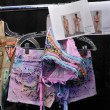 Clothes and bags details closeup backstage at the Agua Bendita Swim Collection — Stock Photo