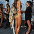 Model gets ready backstage at the Agua Bendita Collection for Spring - Summer 2014 — Stock Photo