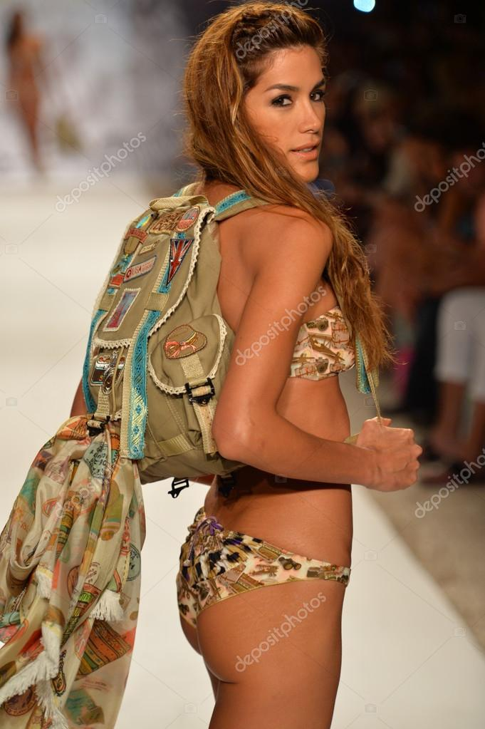 Mercedes Benz Symbols >> Model walks runway with backpack at the Agua Bendita Collection for Spring - Summer 2014 – Stock ...