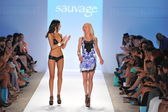 Designer Elisabeth Southwood and Model walks runway finale at the Sauvage Collection for Spring Summer 2014 during Mercedes-Benz Swim Fashion Week — Stock Photo