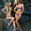 Two swimsuit models posing sexy in front of graffiti background with marine style accessories — Stock Photo