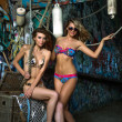 Stock Photo: Two swimsuit models posing sexy in front of graffiti background with marine style accessories
