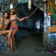 Two swimsuit models posing sexy in front of graffiti background with marine style accessories — Stock Photo #29584853