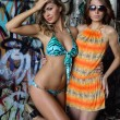 Stock Photo: Two beautiful young swimsuit models posing sexy in front of graffiti background