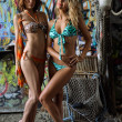 Two beautiful young swimsuit models posing sexy in front of graffiti background — Stock Photo #29585489