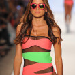 A model walks the runway at the Beach Riot Swimwear show — Stock Photo