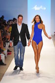 Designer Javier Madrigal walks the runway at the Aquarella Swimwear show — Stock Photo