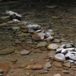 Mountain river with blue clean water and stones — Stock Photo