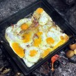 Ready for breakfast eggs at the tray at campground fireplace — Stock Photo