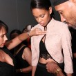 Designer Felicia Persaud makes styling backstage — Stock Photo