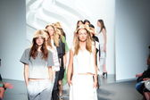 Models walk at the Tibi Spring show — Stock Photo