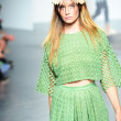 Model walks the runway at the Tibi Spring show — Foto de Stock