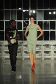 Model walks during rehearsal at K. Nicole fashion show — Stock Photo