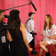 Behati Prinsloo during interviews backstage — Stock Photo