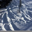Ski tracks in the powder snow — Stock Photo