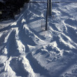 Stock Photo: Ski tracks in the powder snow