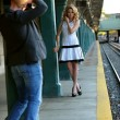 Photographer shooting model at NYC Subway — Photo #37981491