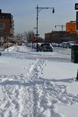 Fresh snow on streets of New York — Stock Photo