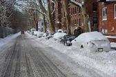 Snow on streets of New York — Stock Photo