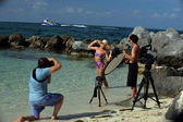 Swimsuit model at location shoot — Stock Photo