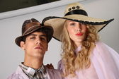 Models showing hats and accessories — Stock Photo
