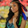 Beautiful indian cherokee woman with feathers — Stock Photo #38751281