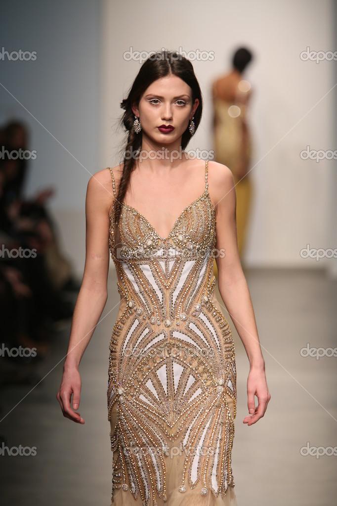 NEW YORK, NY - FEBRUARY 12: A model walks the runway at the Dany Tabet
