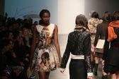 Model walks runway at L. Catherine show — Stock Photo