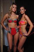 Models pose backstage at Skinny Bikini show — Stock Photo