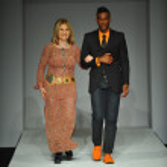 Designer Tatiana Shabelnik and model — Stock Photo #42870285