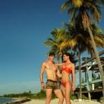 Couple feeling happy at tropical beach — Stock Photo #46706537