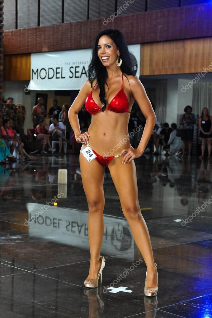 Her labia the international bikini model search tore her