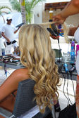 Models getting ready with hairstyle — Stock Photo
